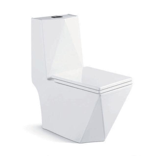 White ceramic wash down one-piece toilet