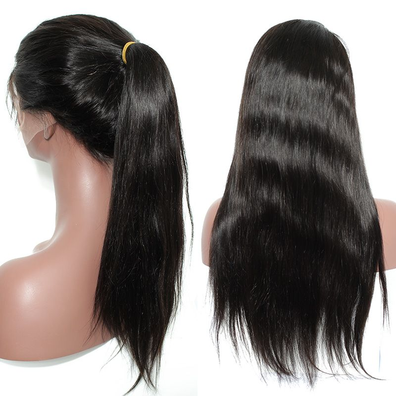 Full Lace Human Hair Wigs with Baby Hair 150% Straight Brazilian Virgin Hair Wigs for Black Women Pre Plucked Natural Hairline