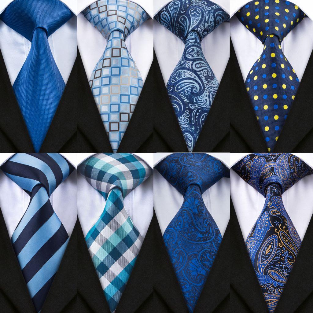 DiBanGu 20 Styles Blue Men's Tie Set With Hanky Cufflinks 100% Silk Neck Ties For Male Wedding Party Business Tie Pocket Square