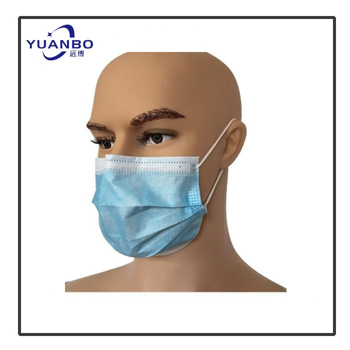 Disposable Medical Nonwoven Protection 3ply Blue Ear-loop Face Mask