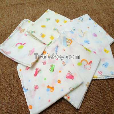 8 pcs/Lot baby bath towels cotton chiffon flower printing new baby towels soft water absorption baby towel