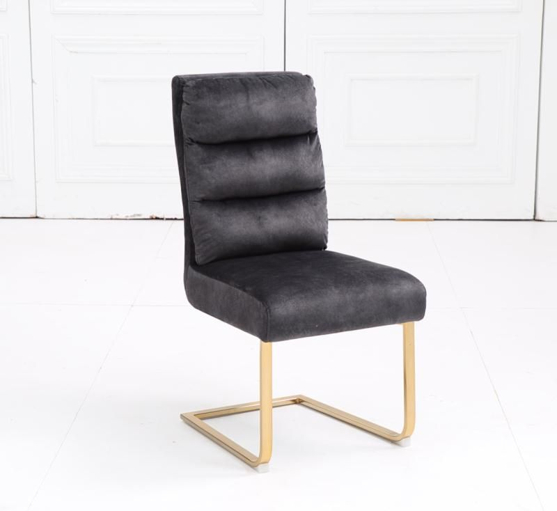 Fabric Kitchen Chairs Set of 4 Dining Chair with Brushed Stainless Steel Frame