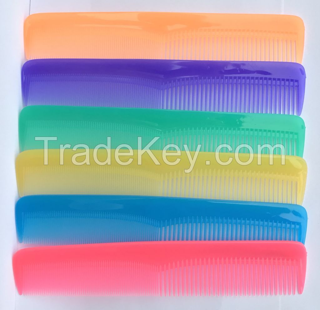 high quality plastic hair comb with multicolor