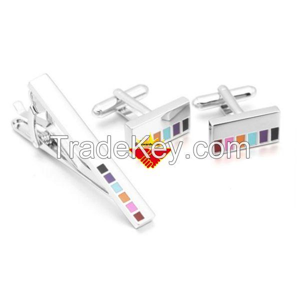 Piano key design hard enamel cufflink and tie clip set