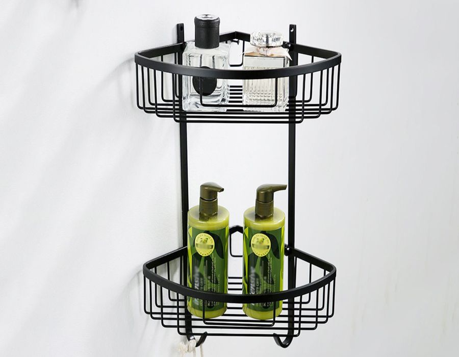 Durable Brass Triangle double-deck bathroom shelves