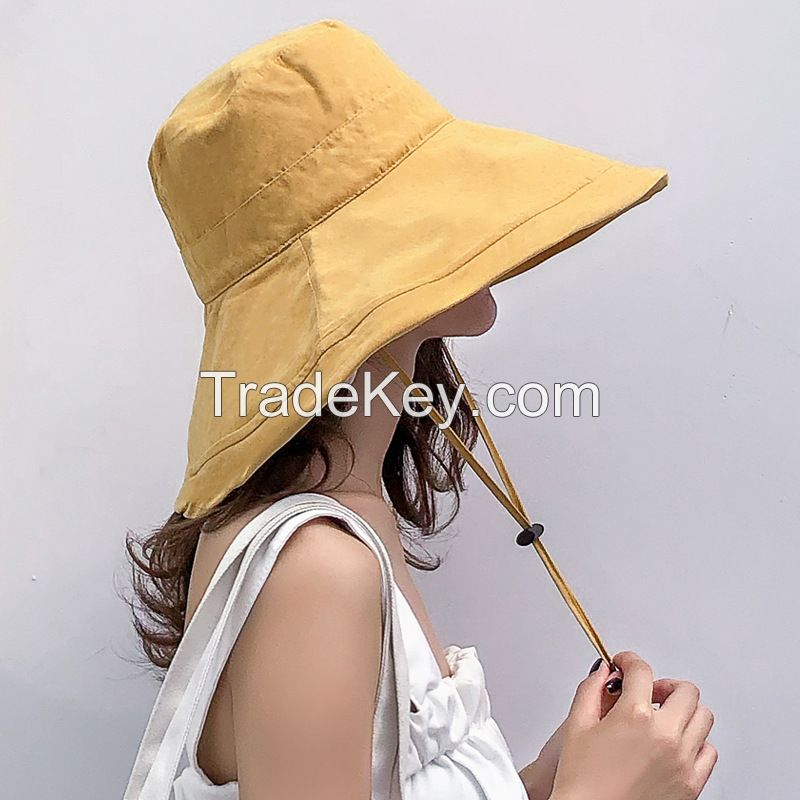New Fashion Female Big Along Bucket Hat Black