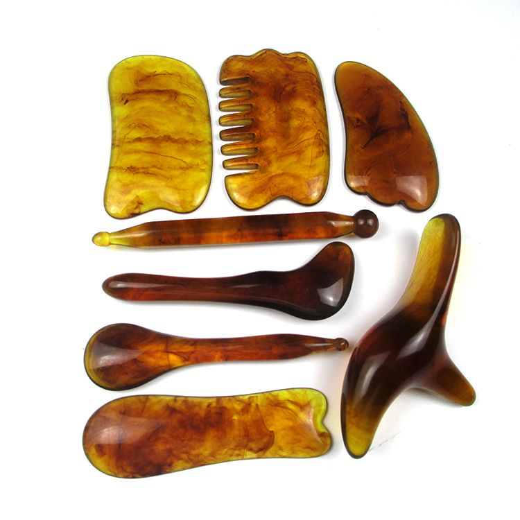 8pcs Chinese Gua Sha Scraping Massage Tool, Hand Made Buffalo Horn Guasha Scraper for Physical/Trigger Point Therapy,Facial/Anker/Neck/Mucle