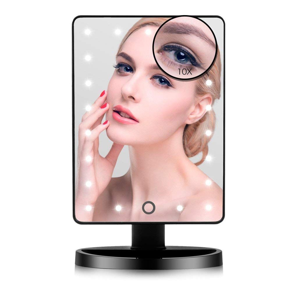 Makeup Mirror, 22 LED Lights and Touch Screen, Detachable 10X Magnification Spot Mirror, 360°Free Rotation, Battery Powered High Clarity Cosmetic Mirror MM138
