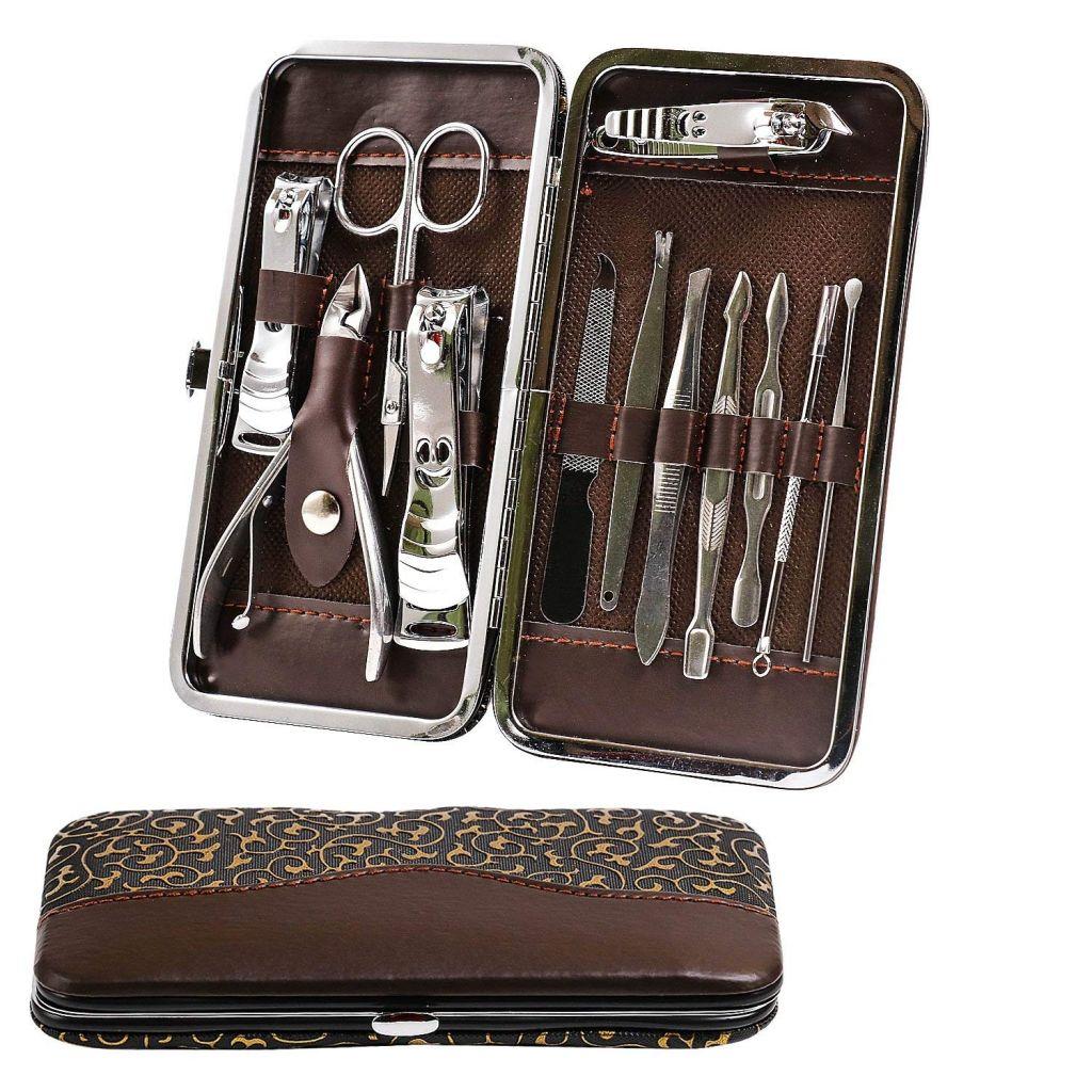 12pcs Manicure Set Pedicure Scissor Tweezer Knife Ear Pick Utility Nail Clipper Kit , Stainless Steel Nail Care Tool Set   ZT137