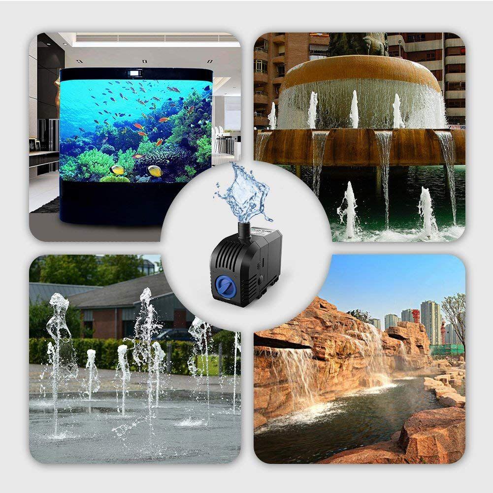 20W 900L/H lift 1.5m,Multi Function Submersible Fountain Pump for Aquarium - Black HJ1100