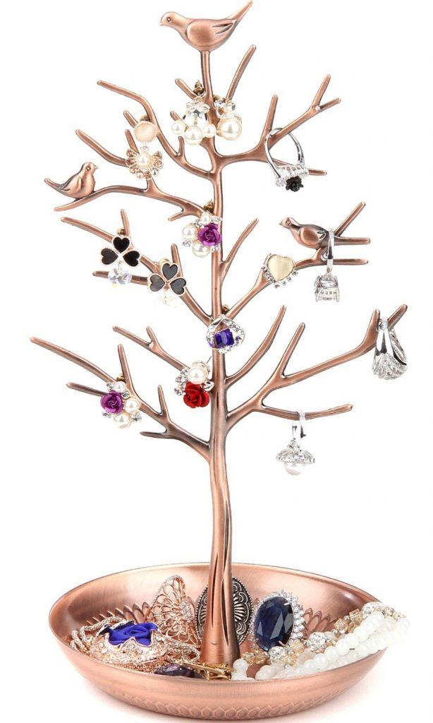 Bronze Birds Tree Jewelry Stand Display Earring Necklace Holder Organizer Rack Tower  TW115