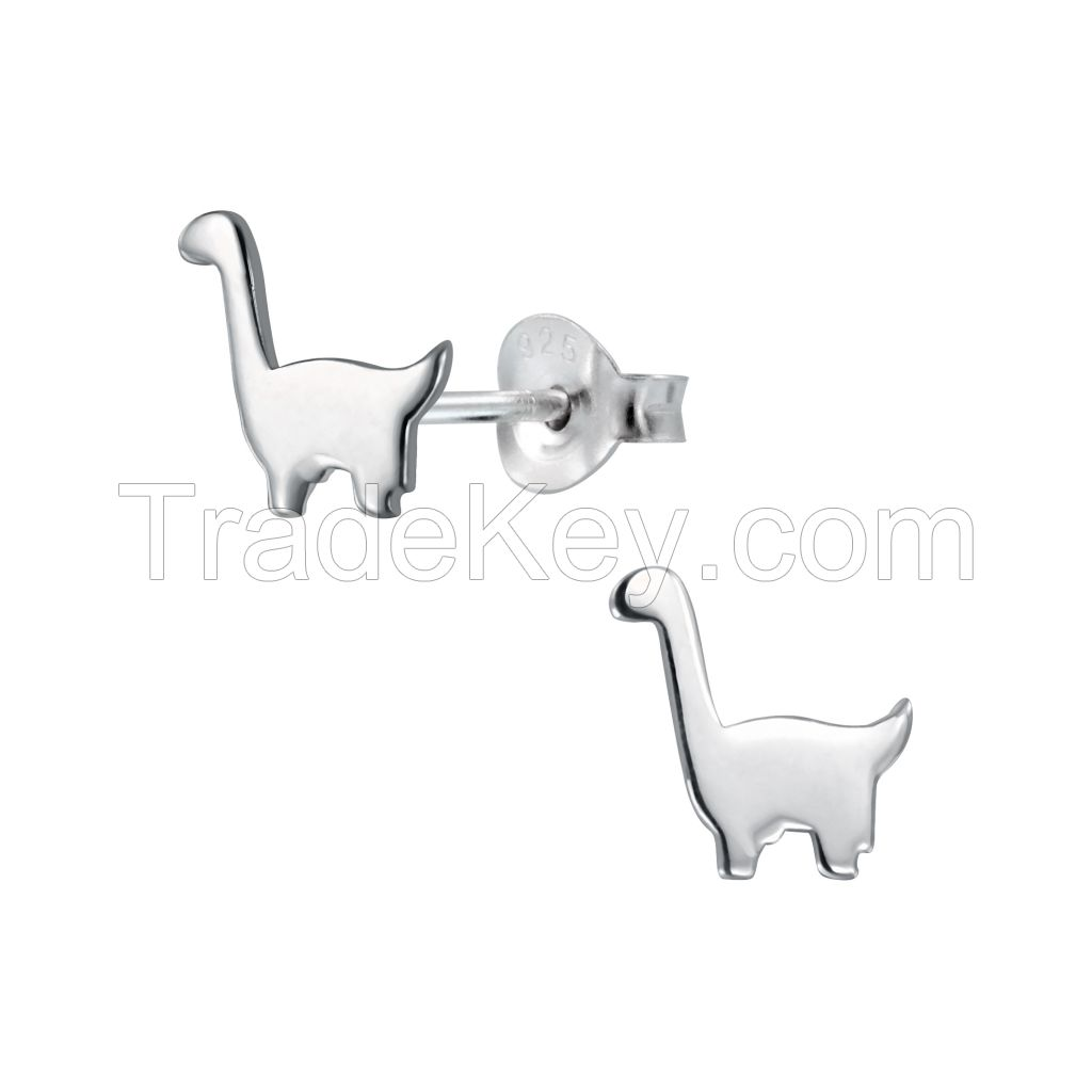 Silver Dinosaur Stud Earrings