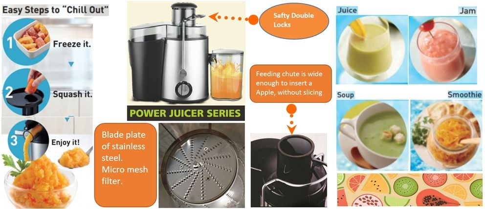 Juicer (centrifugal type) capacity 1.0L 0.5L of juice cup