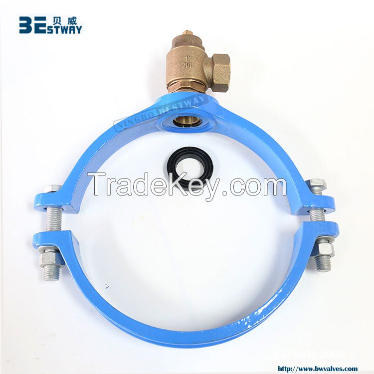 standard cast iron saddle clamp for PVC or PE pipes By