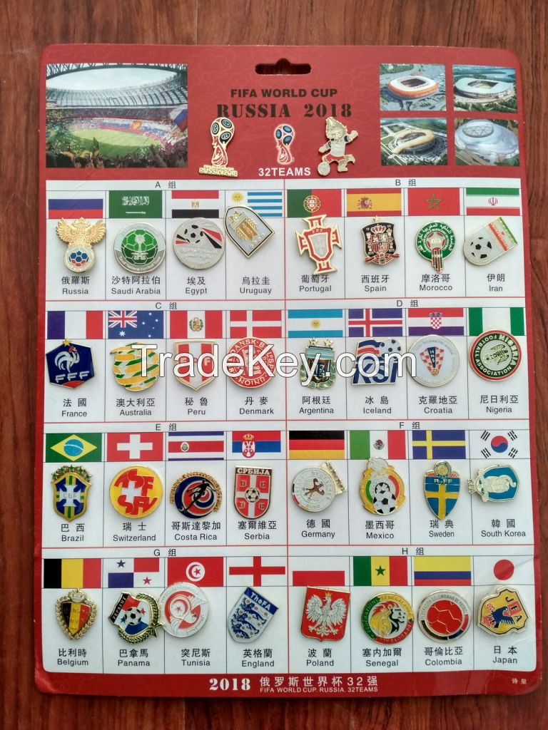 2018 RUSSIA World Cup Badges Pin All 32 National Team a Set 34 pcs