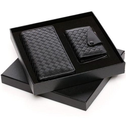 Black Long wallet for men leather wallet business gift box set with key holder