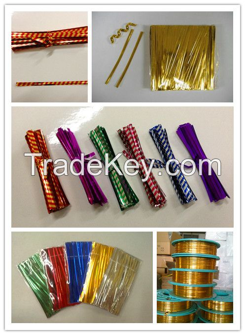 colourful metallic twist ties/ PET twist ties/bag tie