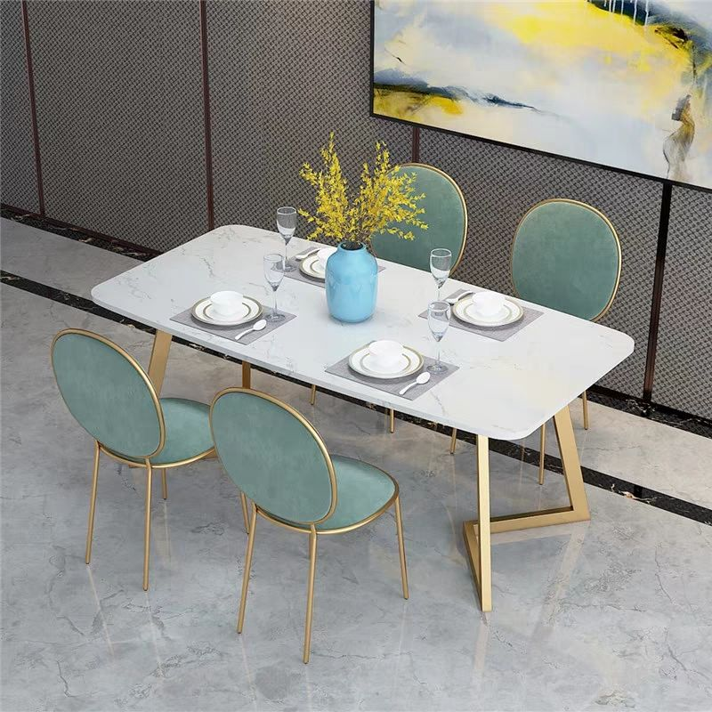Nordic marble rectangular dining table and chair set