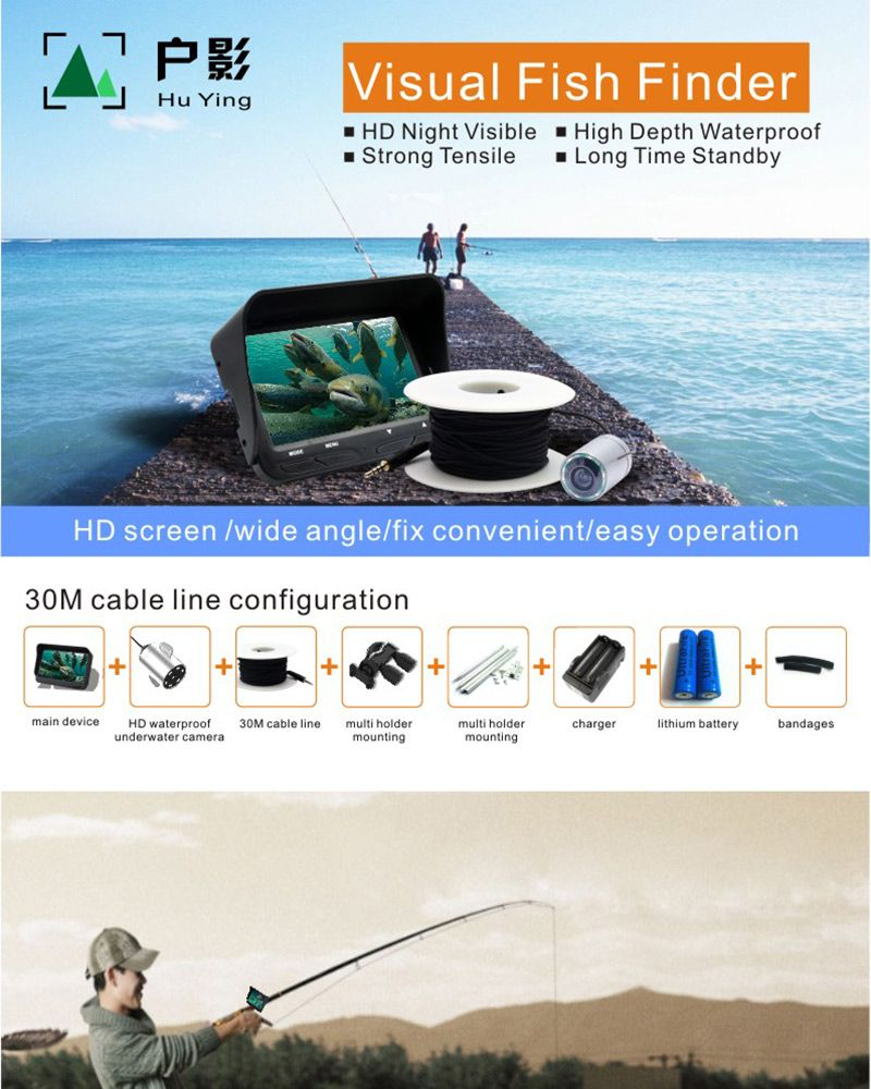 Oringin Factory Produce Visual Fish Finder 30M Cable Line Ice Fishing Underwater Fishing Camera