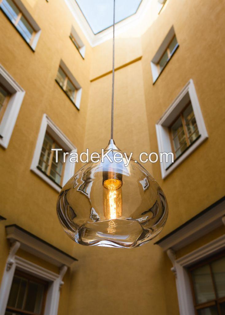 Designer handblown glass light, 1 light pendant lamp BANKA