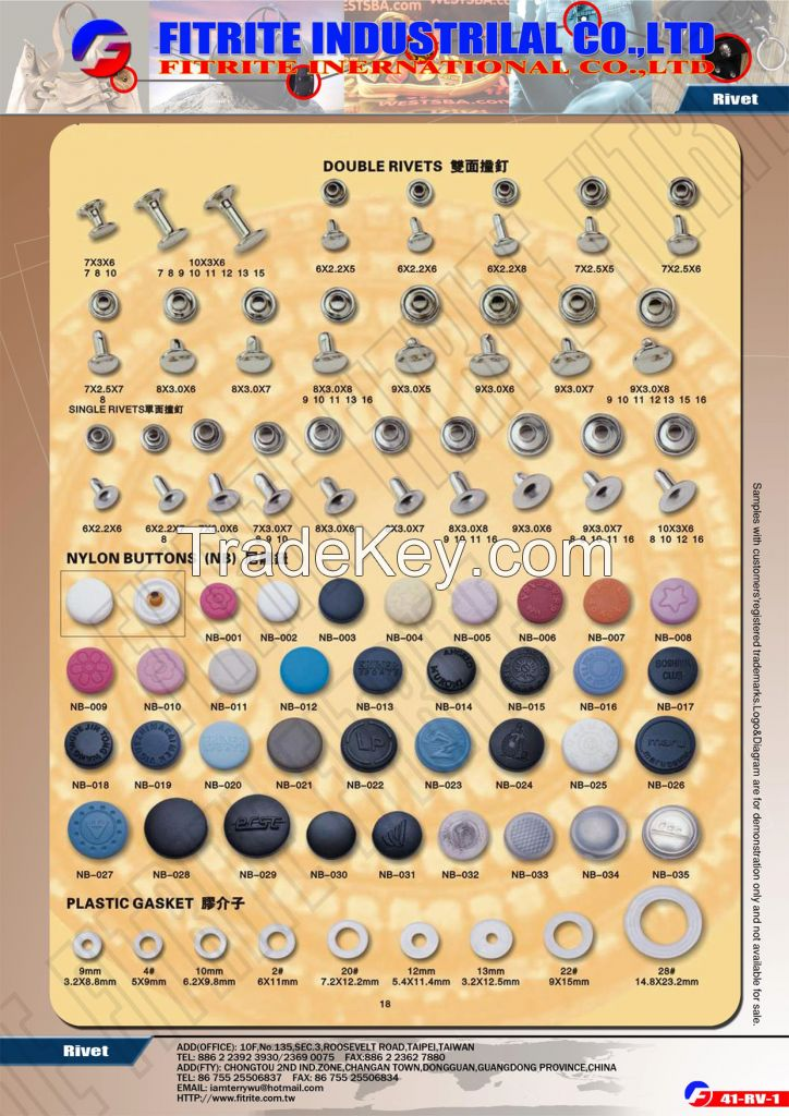 Snap Buttons, Press Buttons, Rivets, Eyelets, Grommet