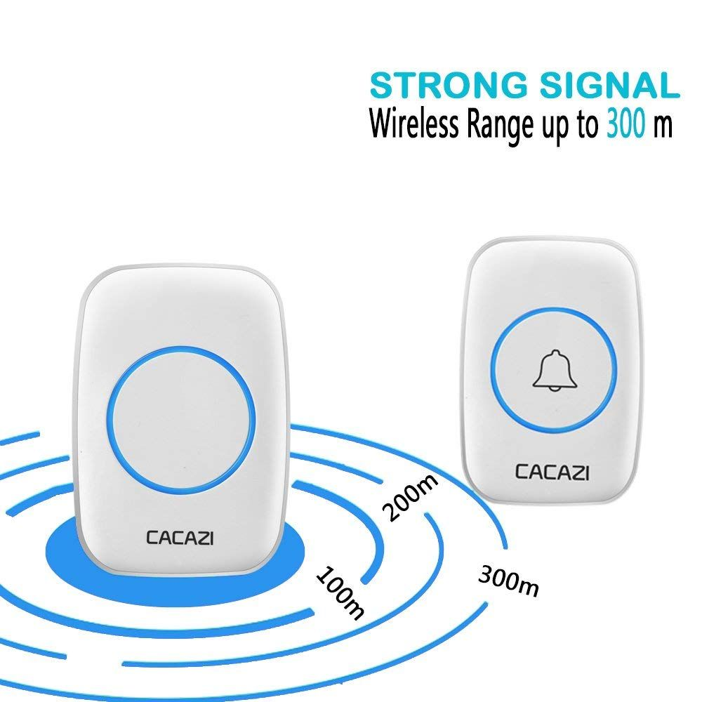 Waterproof Wireless Doorbell Operating at over 1000-feet Range with Over 38 Chimes, No Batteries Required for Receiver, LED Flash