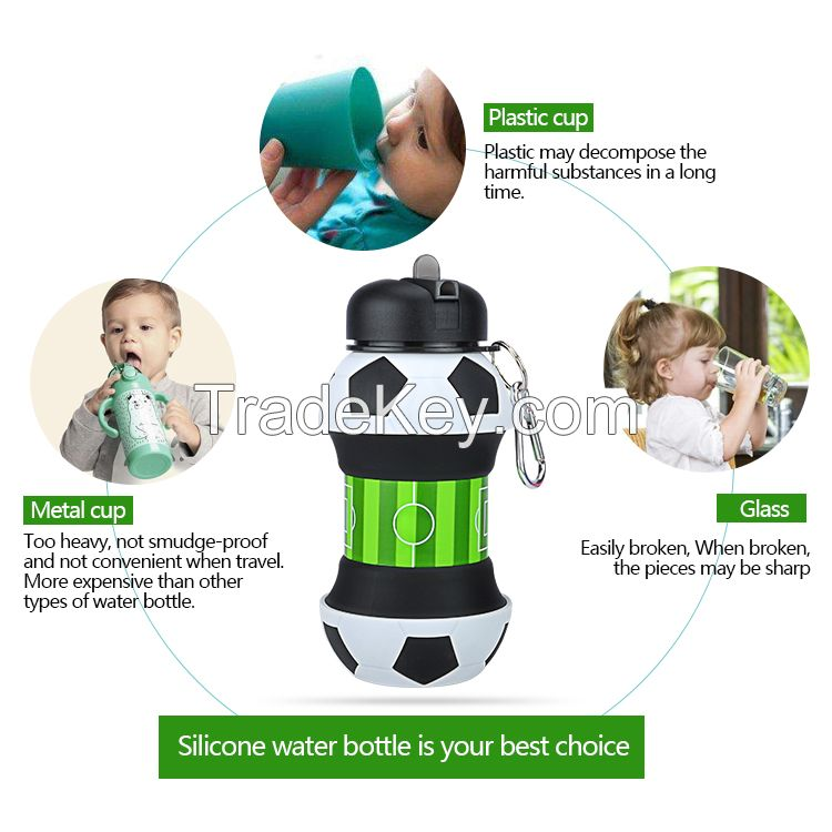 Popular Kids Sport Soccer Silicone Drink Foldable Water Bottle BPA Free