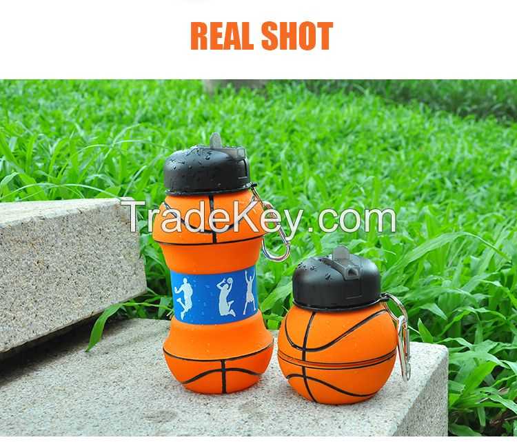 Basketball Shaped Fitness Portable Silicone Fold Drinking Bottle