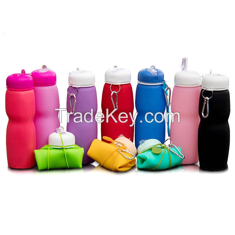 Custom Print Silicone Water Bottle Collapsible For Kids School