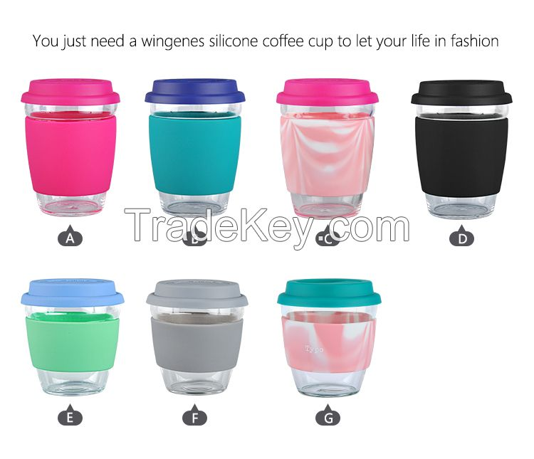 Hot Sale Borosilicate Glass Water Cup With Silicone Cover And Lid