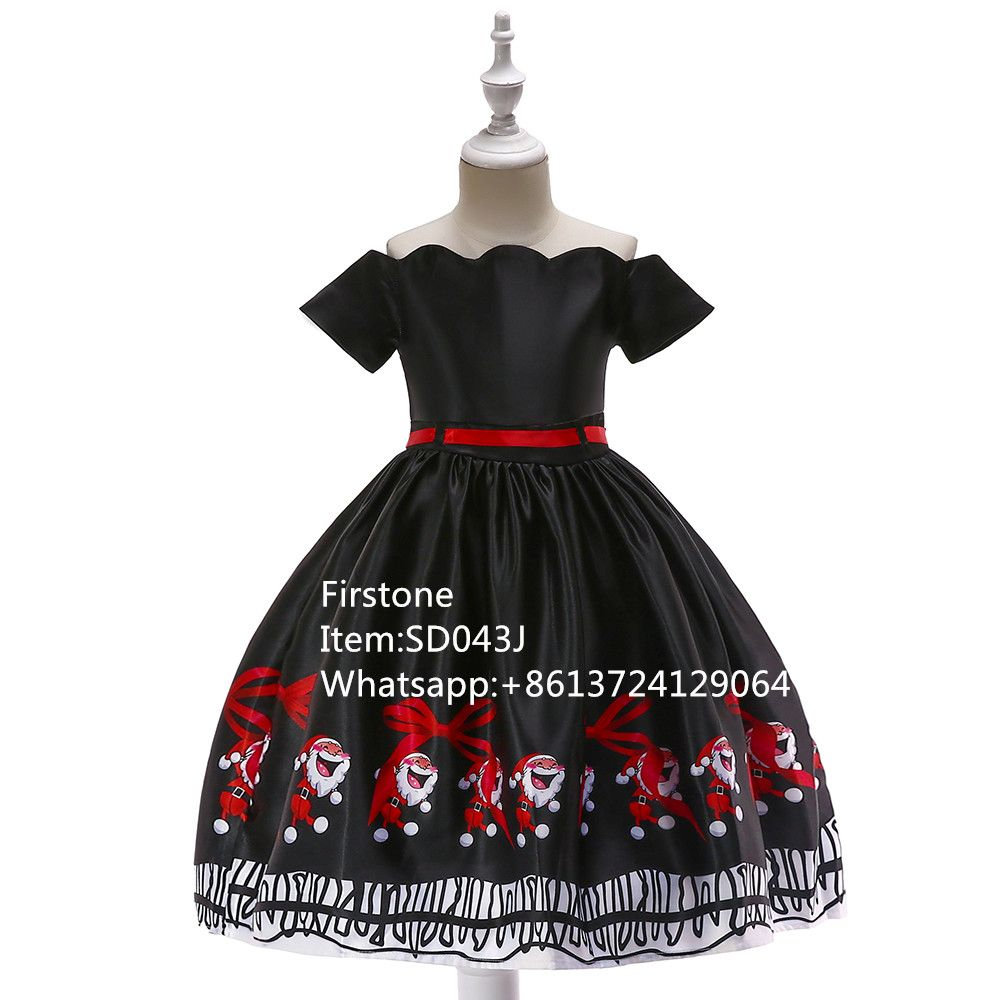Boutique Cosplay Party Wear Baby Christmas Dress Girl Casual Garments SD043J