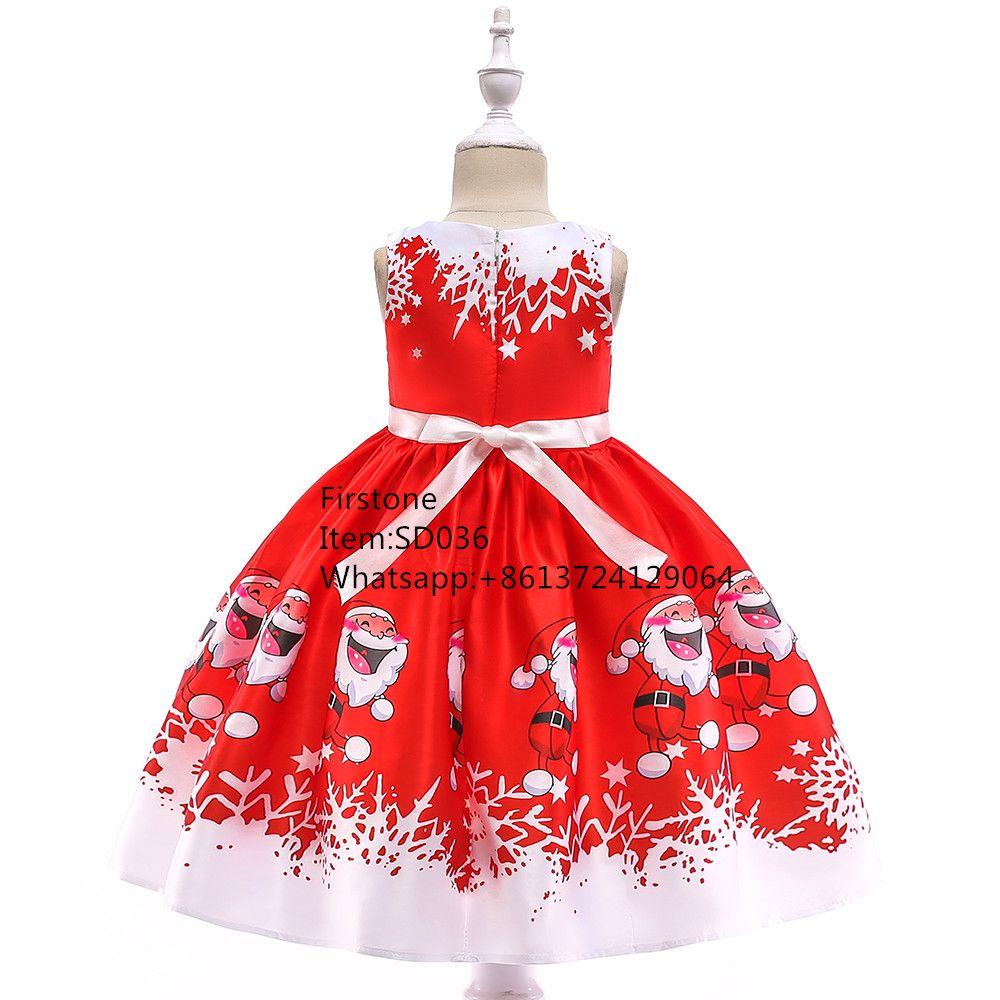 High Quality Kids Carnival Costume Girls Satin Santa Claus Print Pattern Christmas Party Dress SD036