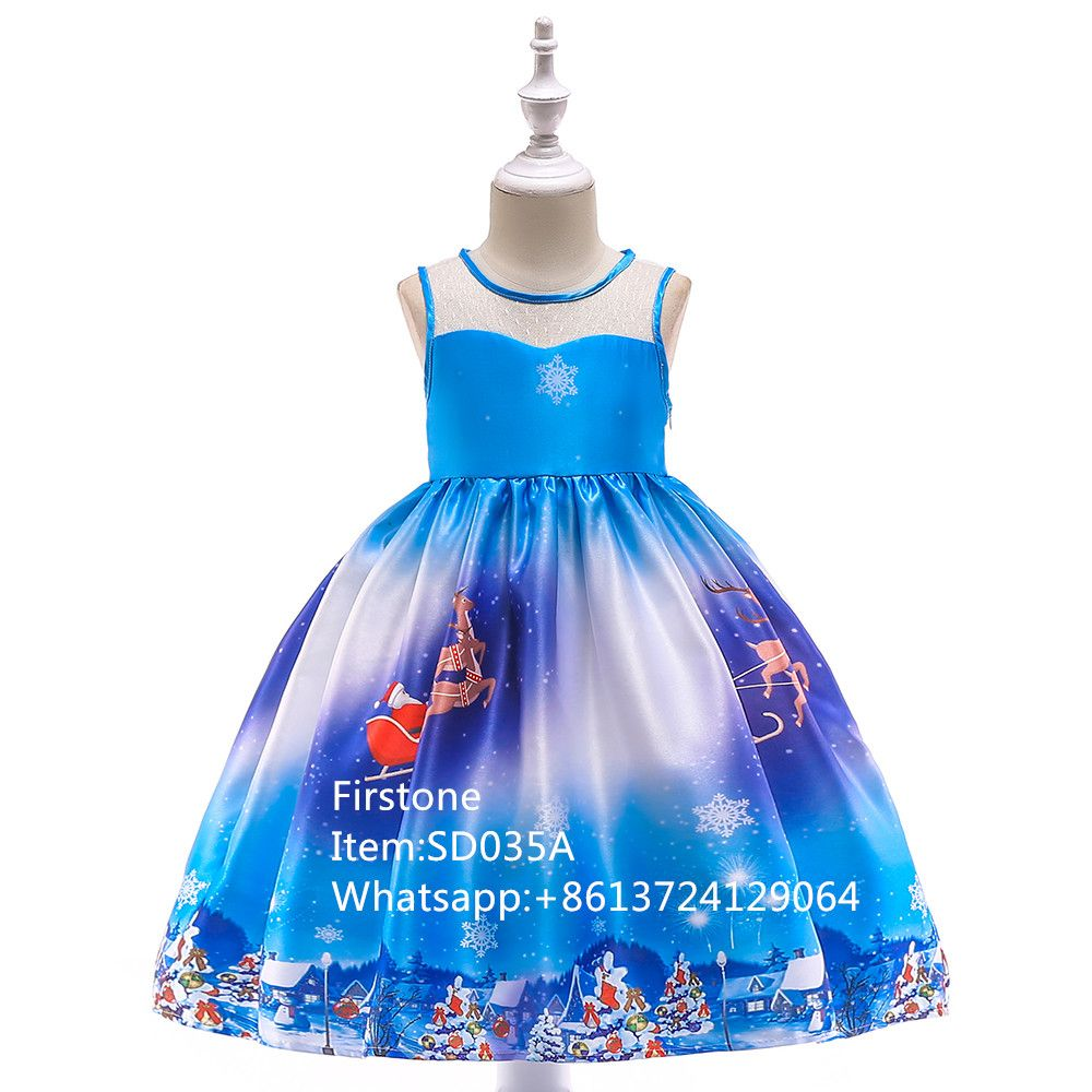 Fashion Satin Print Kids Party Dress Baby Christmas Frock Girl Garments SD035A