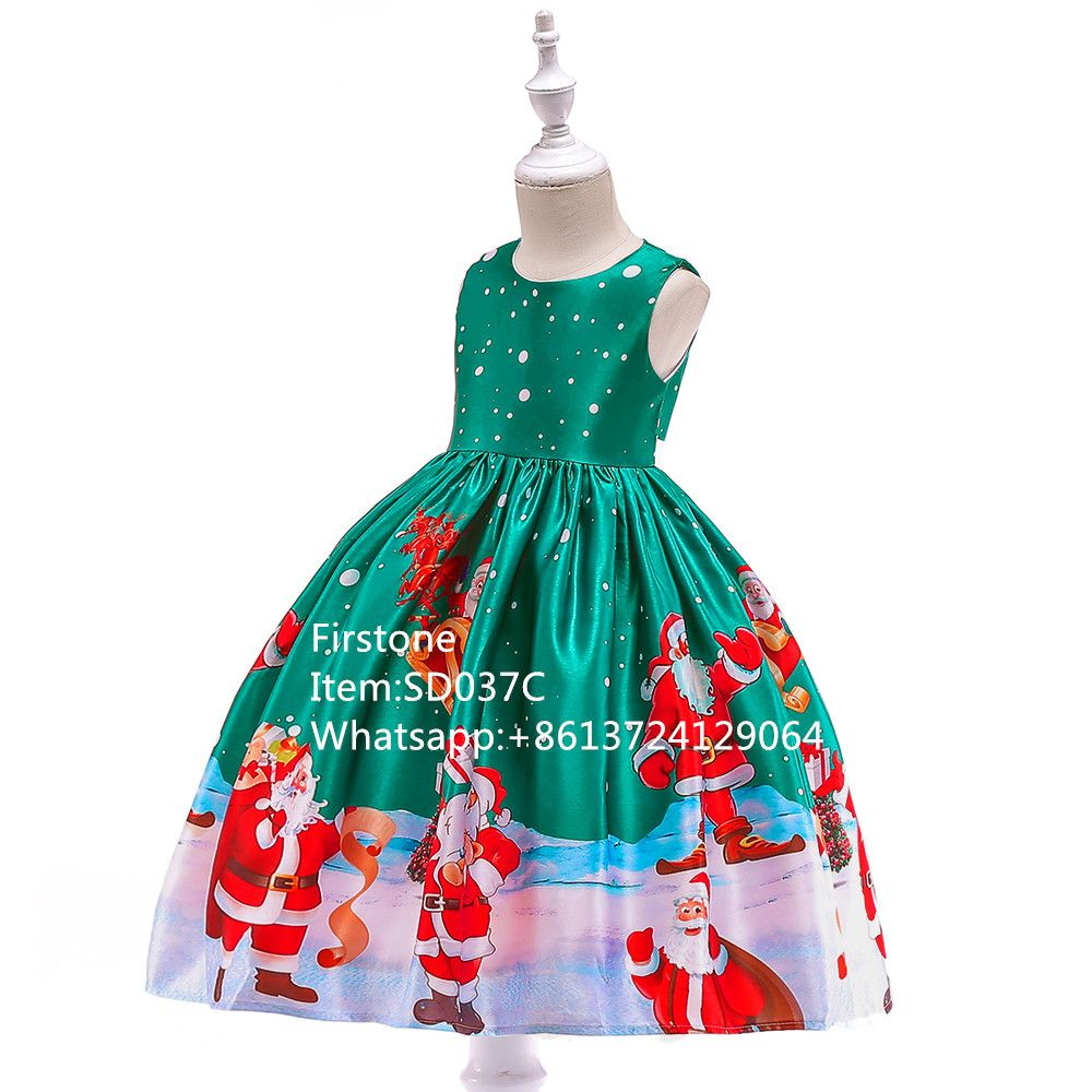 Baby Boutique Girls Stylish Christmas Santa Print Party Frocks SD037C