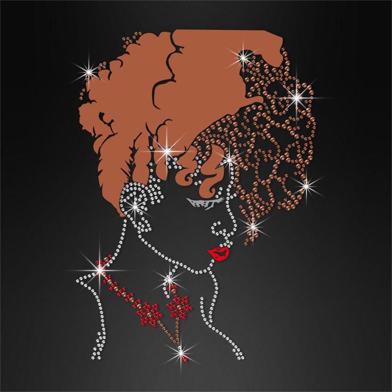 AKA Hot Fix Afro Lady Rhinestone Decal