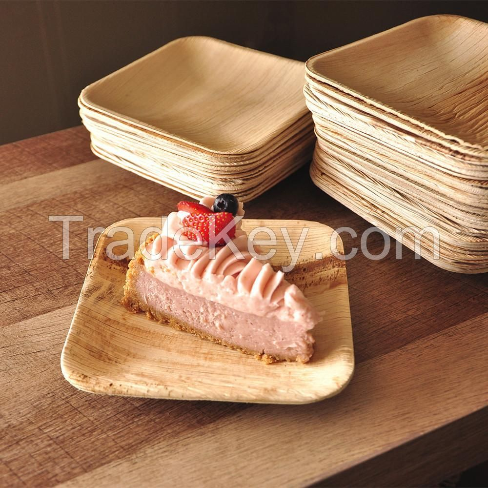 Areca leaf plates and paper straw