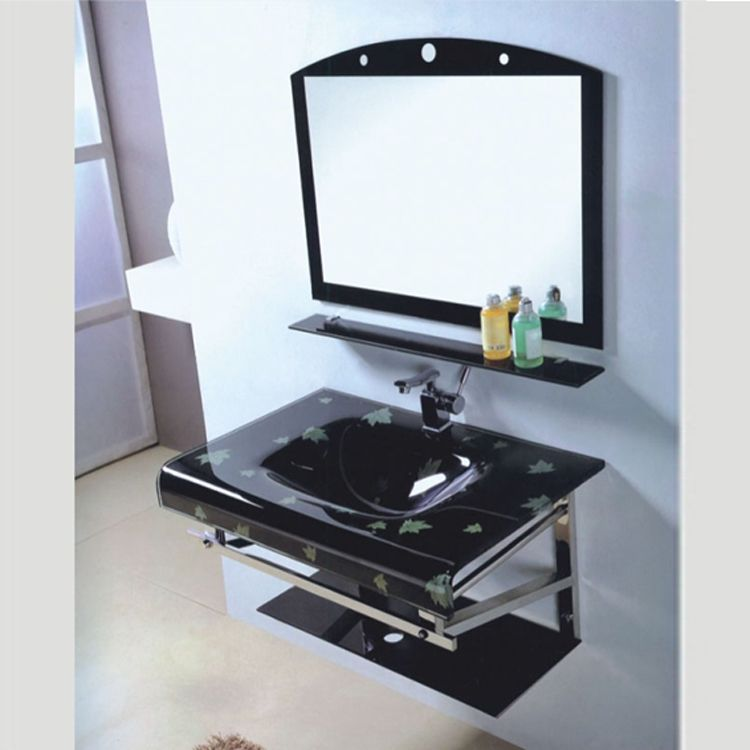 modern style black  glass basin sink