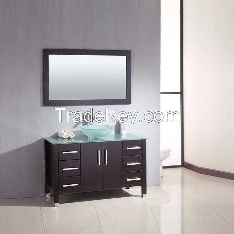 hot selling single sink solid wood glass countertop rustic bathroom vanity