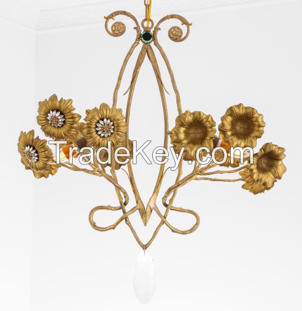 Art Nouveau style bronze lighting