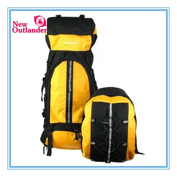 80L outlander hiking backpack with a daypack