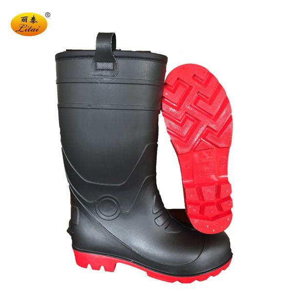 Industrial Fur Lining Black PVC Safety Boots PVC Rain Boots