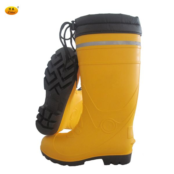 Tamp Resistance Yellow PVC Gum Boots with Reflective Strip