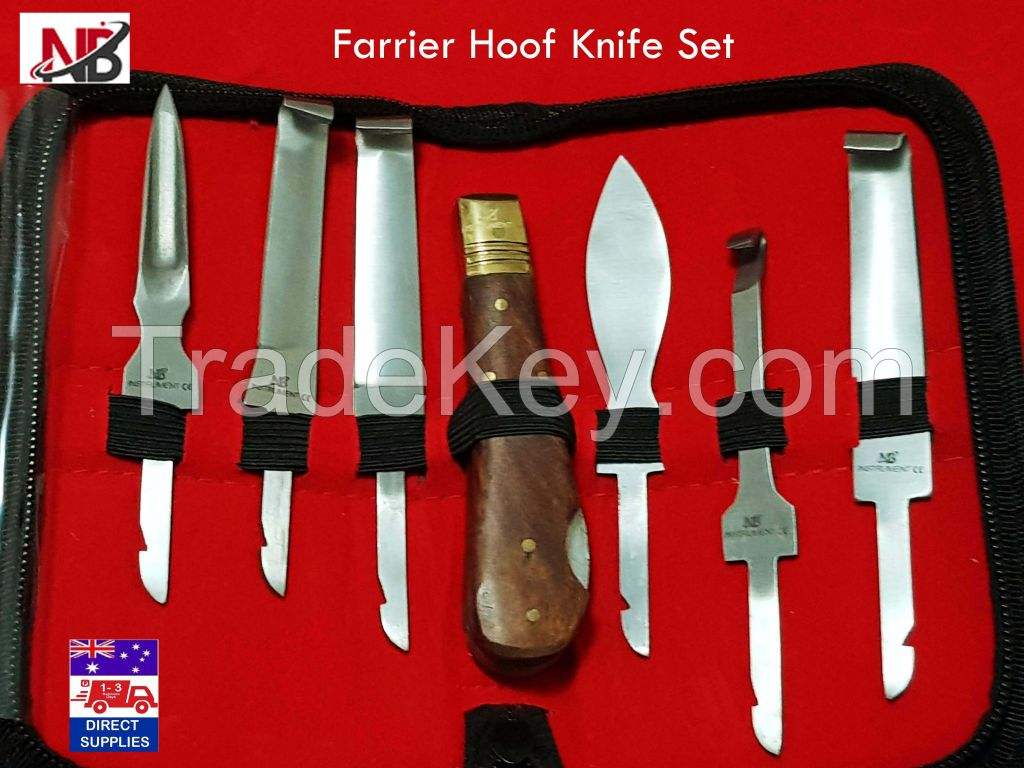 Farrier Hoof Knife Set kit in Zip Up Wallet Premium Quality Farrier Tools