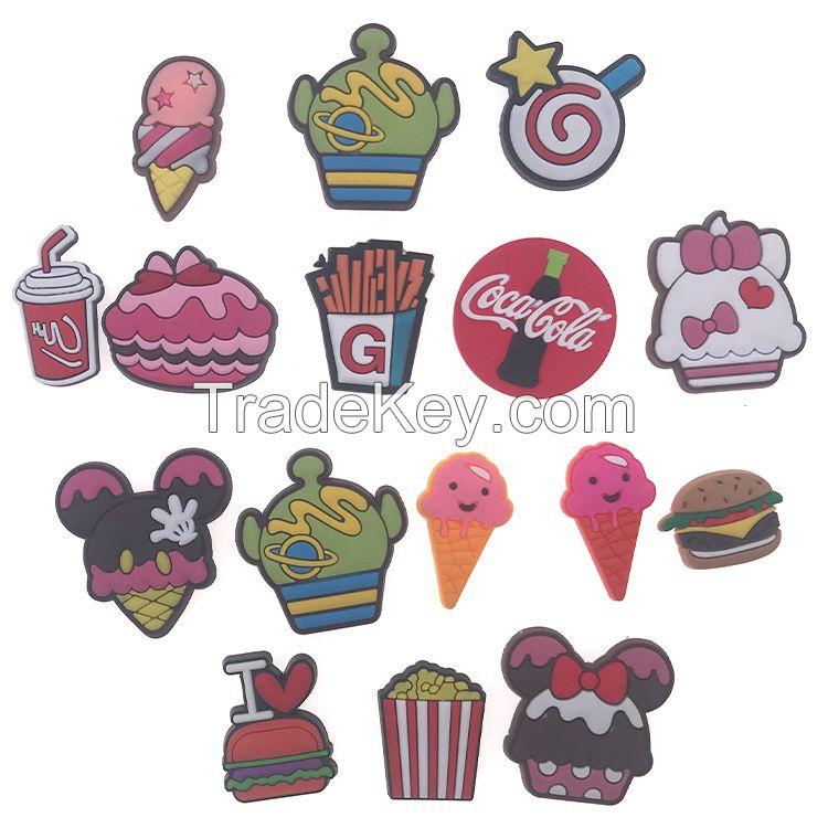 CARTOON lovely Ice-Creem Cake/Hamburger/Cute Star for fashion soft PVC Shoe decoration for kid Croc
