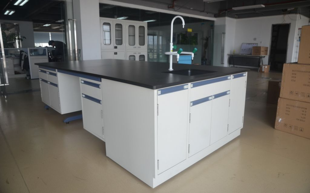 beside bench cabinets
