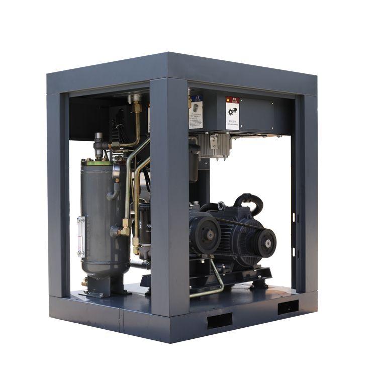 Belt driven screw air compressor with GU air end.