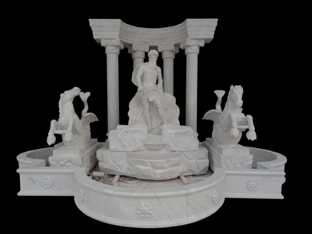 Carved Roman style stone fountain garden water fountain