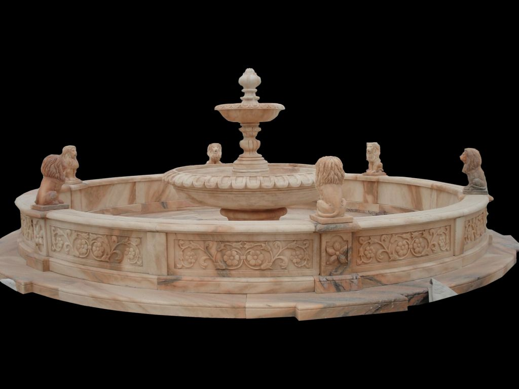 Sunset red marble garden water fountain with carved lion sculptures