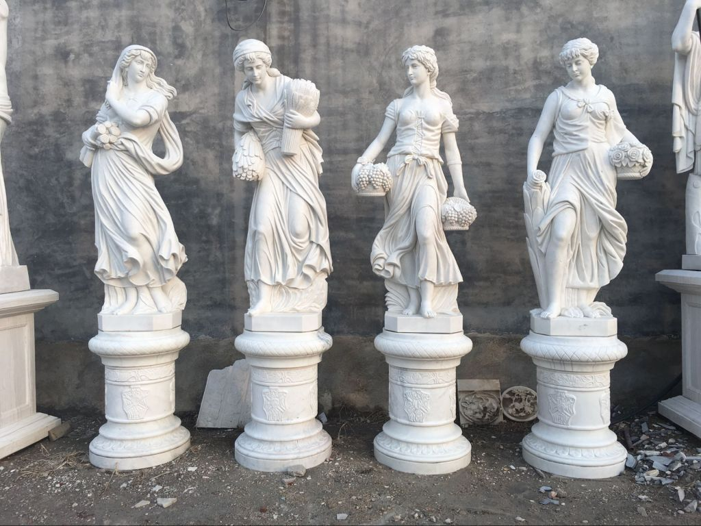 Hand carved white marble statues garden sculpture decorations