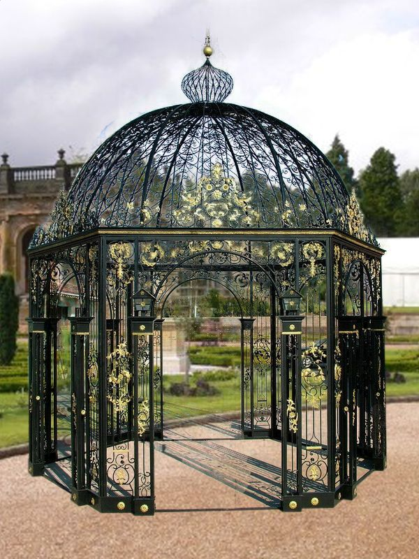 Garden metal gazebo with wrought iron dome top